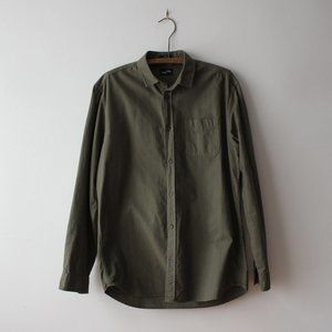 Frank & Oak Olive Khaki Button Down Shirt